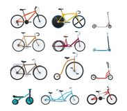 Set of modern vehicles for transportation, different city bicycles. Royalty Free Stock Photography