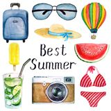 Set of summer watercolor elements: suitcase, glasses, hat, balloon, swimsuit, camera, ice cream, mojito cocktail, best summer vector illustration