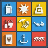 Set of 9 summer web and mobile icons. Vector. Royalty Free Stock Photos