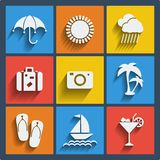 Set of 9 summer web and mobile icons. Vector. Stock Images