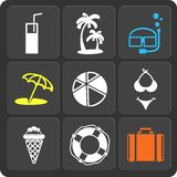 Set of 9 summer web and mobile icons. Vector. Stock Photography