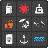 Set of 9 summer web and mobile icons. Vector. Royalty Free Stock Photography