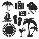 Set of summer web and mobile icons. Vector. Royalty Free Stock Photography