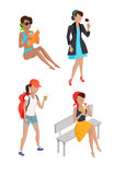 Set Summer Womens Characters Vector Illustration Stock Image