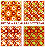 Set of 4 summery seamless patterns with different geometric shapes of orange, green, white and cherry shades. Set of 4 abstract summery seamless patterns with Stock Photo