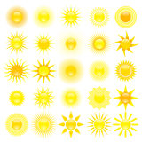 Set of sun. Set of 25 different sun shapes Stock Photos