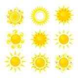 Set of sun. Illustration isolated on white background Royalty Free Stock Photo