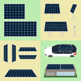 Set of sun batteries on isolated background Stock Images