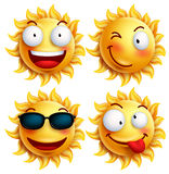 Set of sun character with funny facial expressions in glossy 3D realistic for summer Stock Photos