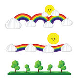 Set of sun cloud rainbow tree sun icon isolated on white backgro Royalty Free Stock Images