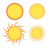 Set of sun design elements Stock Photo