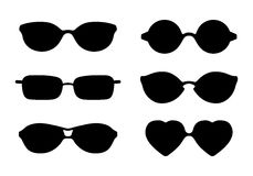 Set of sun glasses icons isolated on white Vector illustration. Stock Images