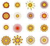 Set Sun hot summer. Vector Royalty Free Stock Photo