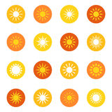 Set of sun icons on color background,  illustration Royalty Free Stock Photography