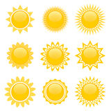 Set of sun icons for game design Stock Image