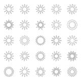 Set of sun icons,  illustration. Collection of sun icons,  illustration Royalty Free Stock Photo