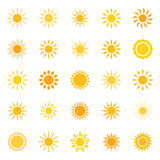 Set of sun icons,  illustration. Collection of sun icons,  illustration Stock Photography