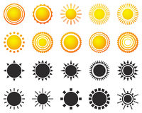 Set of sun icons isolated on white background Royalty Free Stock Photos