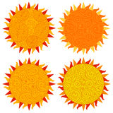 Set of sun icons isolated on white background.  Vector illustration on the day of the sun. Set of sun icons isolated on white background. Creative yellow Stock Image