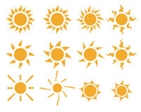 Set of sun icons in many style Stock Image