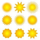 Set of sun icons. Spring. Summer. Autumn. Winter. Geometrics sun Royalty Free Stock Photos