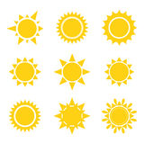Set of sun icons Stock Photo
