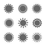 Set of sun icons. Vector illustration Royalty Free Stock Photos