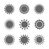 Set of sun icons Royalty Free Stock Photos