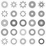 Set of sun icons  on white background Royalty Free Stock Photos