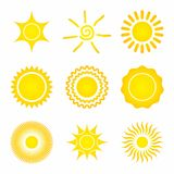 Set of Sun Icons on a white background. Vector Illustration Royalty Free Stock Photo