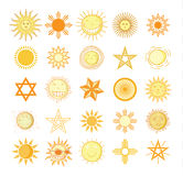 Set of sun icons  on white background. Vector illustration. Royalty Free Stock Photography
