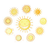 Set of sun icons  on white background. Vector illustration. Royalty Free Stock Photo