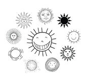 Set of sun icons  on white background. Vector illustration. Stock Photography