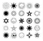 Set of sun icons  on white background. Vector illustration. Stock Photo