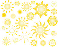 Set of sun  Royalty Free Stock Images
