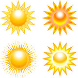 Set of sun illustrations Royalty Free Stock Photo