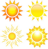 Set of sun images. Set of shining sun images. Vector illustration stock illustration
