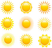 Set of sun images. Set of glossy sun images. Vector illustration stock illustration