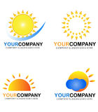 Set with sun logo Royalty Free Stock Images