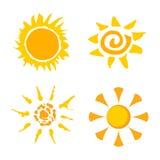 Set-of-sun-logo-spray-paint Stock Photography