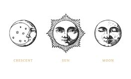 Set of Sun, Moon and crescent, hand drawn in engraving style. Vector graphic retro illustrations. Set of Sun, Moon and crescent, hand drawn in engraving style stock illustration