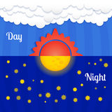 Set of sun and moon, day and night Stock Photo