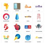 Set of sun moon, logistics company, 10 years, restroom, foot print, waffle, heating cooling, crab, africa map icons Royalty Free Stock Images
