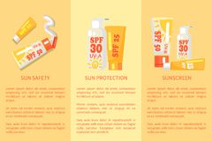 Set of Sun Safety, Protection, Sunscreen Posters. Set of sun safety protection sunscreen posters with inscriptions. Vector illustration depicting various types Stock Illustration