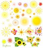 Set of sun and sunflowers Stock Photo