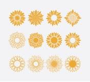 set of sun symbol or sunflower vector logo design concept isolated on white background