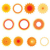 Set of sun symbols Set of sun symbols Royalty Free Stock Photos
