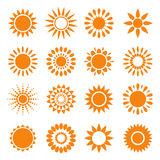 Set of sun symbols Royalty Free Stock Photos