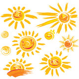 Set of sun symbols with smile. Set of hand drawn sun symbols with smile Stock Photos