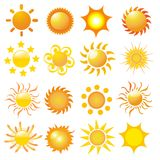 Set of sun vector. On white Royalty Free Stock Image